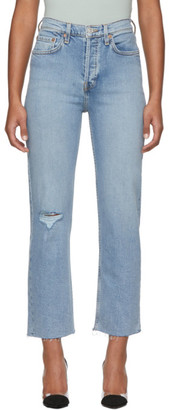 RE/DONE Blue Comfort Stretch High Rise Stove Pipe Jeans
