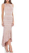 JS Collections Lace Piped High-Low Gown