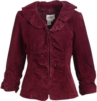 Live A Little Women's Leather Jackets MULBERRY - Mulberry Ruffle-Collar Suede Jacket - Women