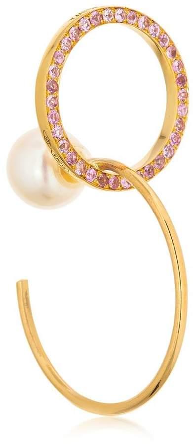 Delfina Delettrez Twins Hoop Sapphires Right Mono Earring