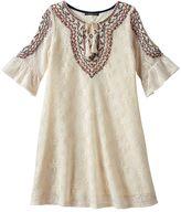 My Michelle Girls 7-16 Crochet Bell Sleeve Cold Shoulder Tie Sheath Dress