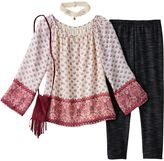 Knitworks Girls 7-16 Chiffon Printed Bell Sleeve Top & Leggings Set with Choker Necklace & Crossbody Purse
