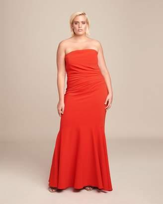 Badgley Mischka Strapless Corseted Gown