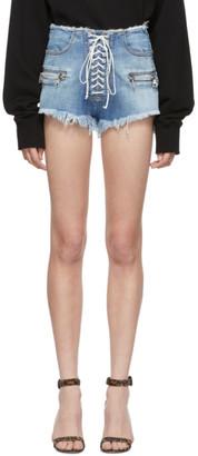 Unravel Indigo Denim Lace-Up Shorts