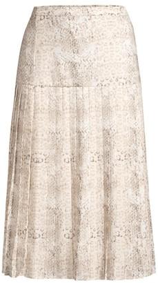 Brochu Walker Rovena Mixed Animal Print Pleated Midi Skirt