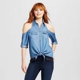 3Hearts Women's Tencel Chambray Cold Shoulder Button Up Shirt - 3Hearts (Juniors')