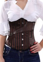 Dawafa Fashion Faux Leather Steampunk Sexy Underbust Waist Belt Corset XL