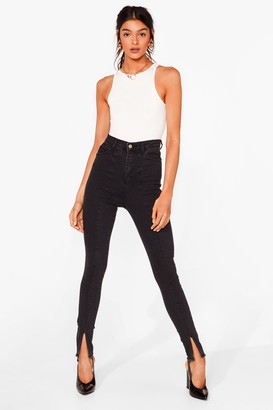 Nasty Gal Womens Tell Hem How It Is High-Waisted Skinny Jeans - Black - 4, Black