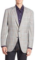 Isaia Windowpane Button-Front Sportscoat