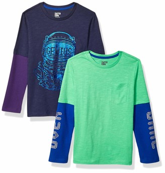 Spotted Zebra Amazon Brand Boy's 2-Pack Long-Sleeve 2-in-1 T-Shirts
