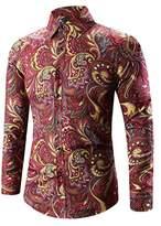 PHOTNO 3D Print T-Shirt Men Hawaiian Shirt Long Sleeve Dress Shirts Slim Fit Plus Size