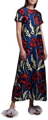 La DoubleJ Floral Long Silk Swing Dress