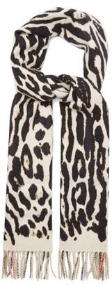 Burberry Leopard And Icon Check Cashmere Scarf - Multi