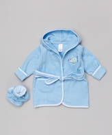 SpaSilk Blue Plane Terry Robe & Booties - Infant
