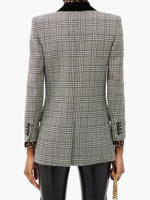 Saint Laurent Double-breasted Prince Of Wales-check Wool Blazer - Grey White