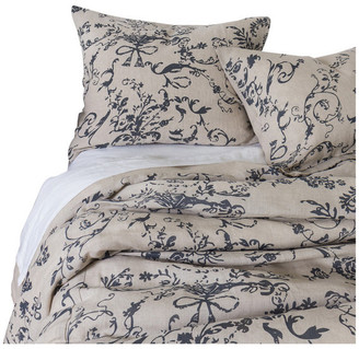 Amity Home Le Fleur Linen Duvet Cover Set, Steel Blue, Queen