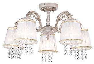 BEIGE Elegant Classic Chandelier Ceiling Lamp Light Metal Frame White Fabric Shades with Crystal Chains excl. 5 Bulbs x E14 40W