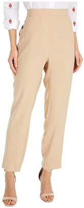 BCBGeneration Front Button Paper Bag Pull-On Woven Pants - TUB2302316 (Sand) Women's Casual Pants