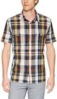 Lucky Brand Men's Short Sleeve Workwear Button Down Shirt in Multi Plaid XL