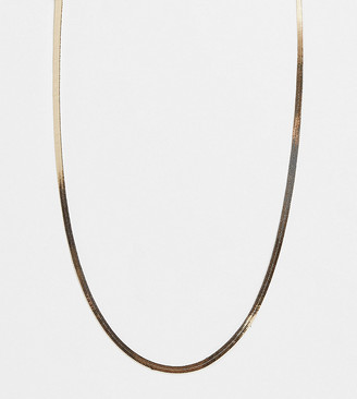 ASOS DESIGN Curve necklace in 4mm herringbone chain in gold tone