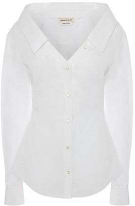 Alexander McQueen Open-Neck Cotton Poplin Shirt