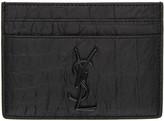 Saint Laurent Black Croc-Embossed Monogram Card Holder