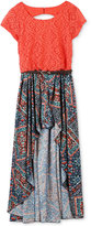 Speechless Coral High-Lo Maxi Dress, Big Girls (7-16)
