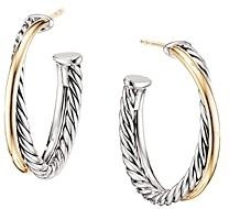 David Yurman Sterling Silver & 18K Yellow Gold Crossover Medium Hoop Earrings