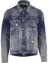 River Island Mens Blue acid wash distressed denim jacket