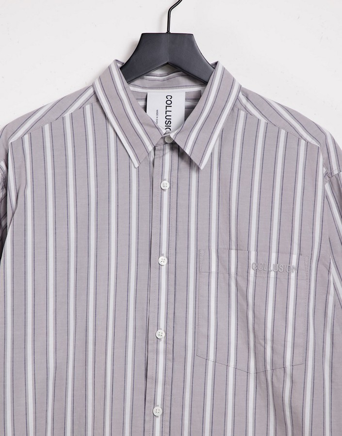 Thumbnail for your product : Collusion Unisex oversized shirt in grey stripe