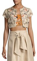 Josie Natori Embroidered Bolero Jacket, Light Brown