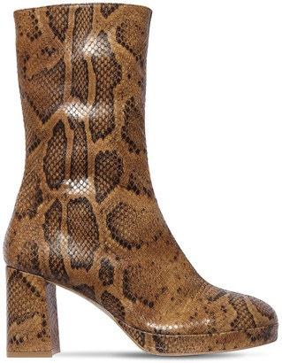 Miista 80mm Carlota Snake Print Leather Boots