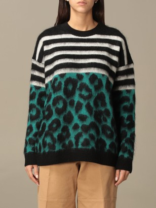 N°21 Animalier And Striped Mohair Crewneck
