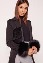 Missguided Faux Fur Cuffs Black