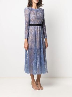 Self-Portrait Floral Sequin-Embellished Layered Dress