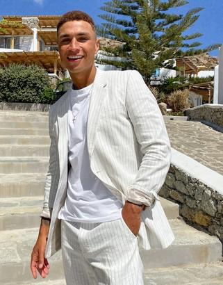 ASOS DESIGN wedding slim suit jacket in white pin stripe
