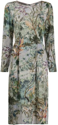 Alberta Ferretti Pleated Waist Floral Print Dress