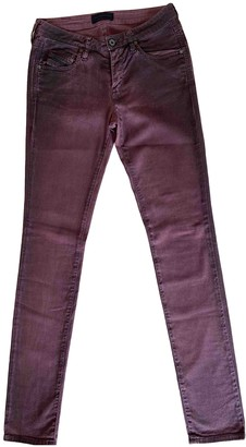 Diesel Black Gold Burgundy Cotton - elasthane Jeans for Women