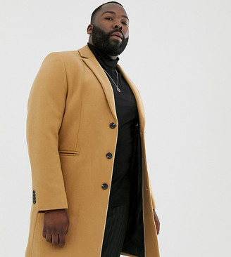 Asos Design DESIGN Plus wool mix overcoat in camel-Tan