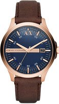 Armani Exchange A|X Men's Dark Brown Leather Strap Watch 46mm AX2172