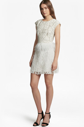 French Connection Snow Spell Feather Beaded Dress