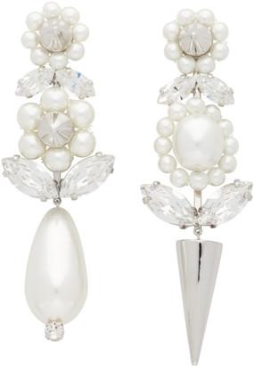 Simone Rocha Silver Pearl Spike Earrings
