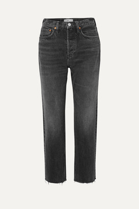 RE/DONE Originals Stove Pipe Cropped High-rise Straight-leg Jeans - Dark gray