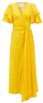 Carolina Herrera Ruffle-sleeve Floral-jacquard Dress - Womens - Yellow