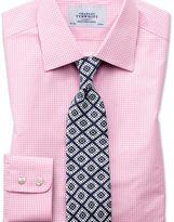 Charles Tyrwhitt Slim fit small gingham light pink shirt