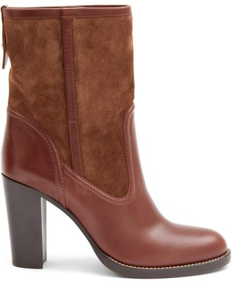 Chloé Suede And Leather Ankle Boots - Brown