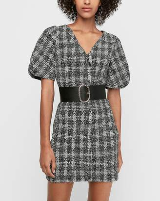 Express Jacquard Puff Sleeve Mini Shift Dress