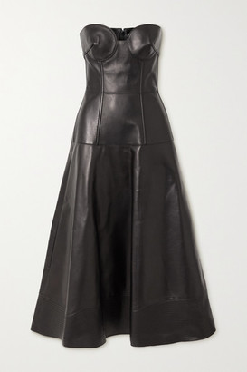 Valentino Strapless Leather Midi Dress - Black