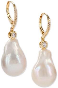 Nina Gold-Tone Crystal & Natural Baroque Pearl Drop Earrings