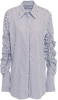 Victoria Victoria Beckham Ruched Striped Cotton-poplin Shirt